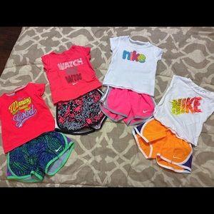 Nike shirts and athletic shorts. Set of 4.